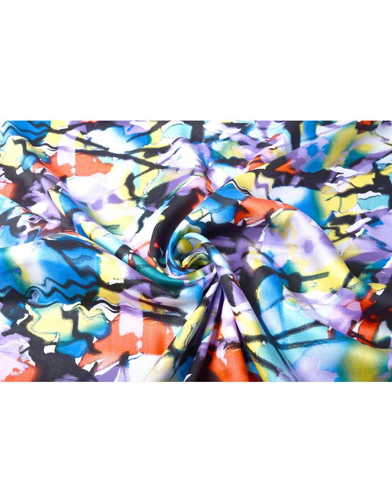 100% Viscose Digitaal Print Menas Blauw