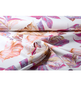 Digitaal Crepe stretch Leaves Off white-Pink