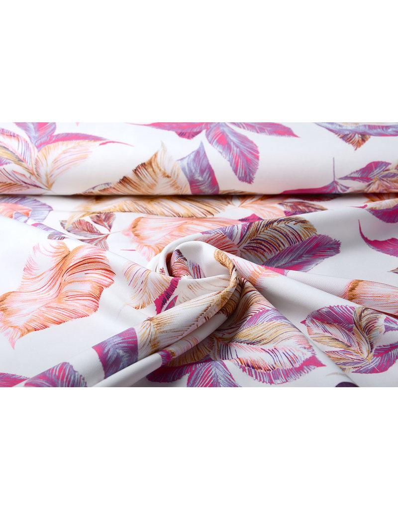 Digitaal Crepe stretch Blätter Off white-Rosa