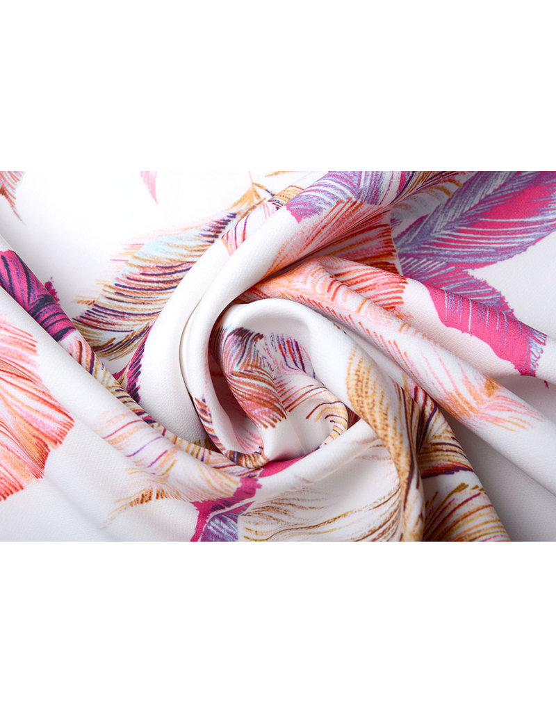 Digitaal Crepe stretch bladeren Off white-Roze