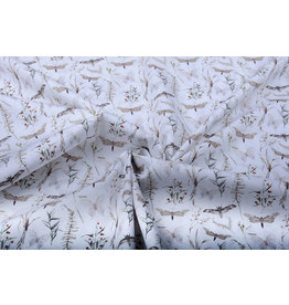 100% Cotton Butterfly Berry Branch
