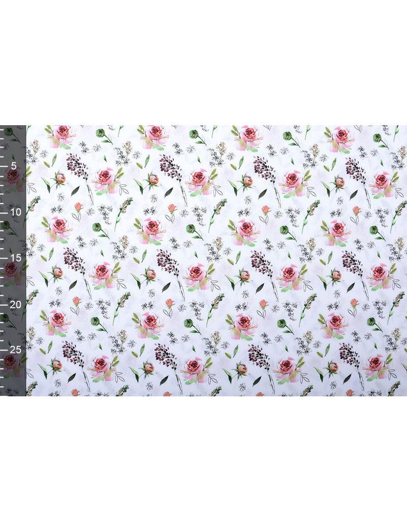 Stenzo 100% Baumwolle Rosa Rosen Weiß