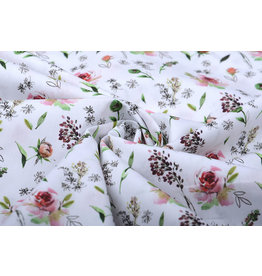 100% Cotton Pink Roses White