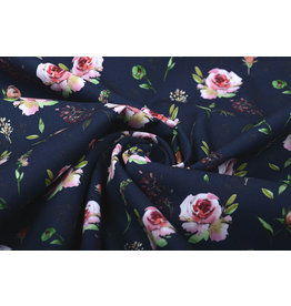 100% Cotton Pink Roses Navy