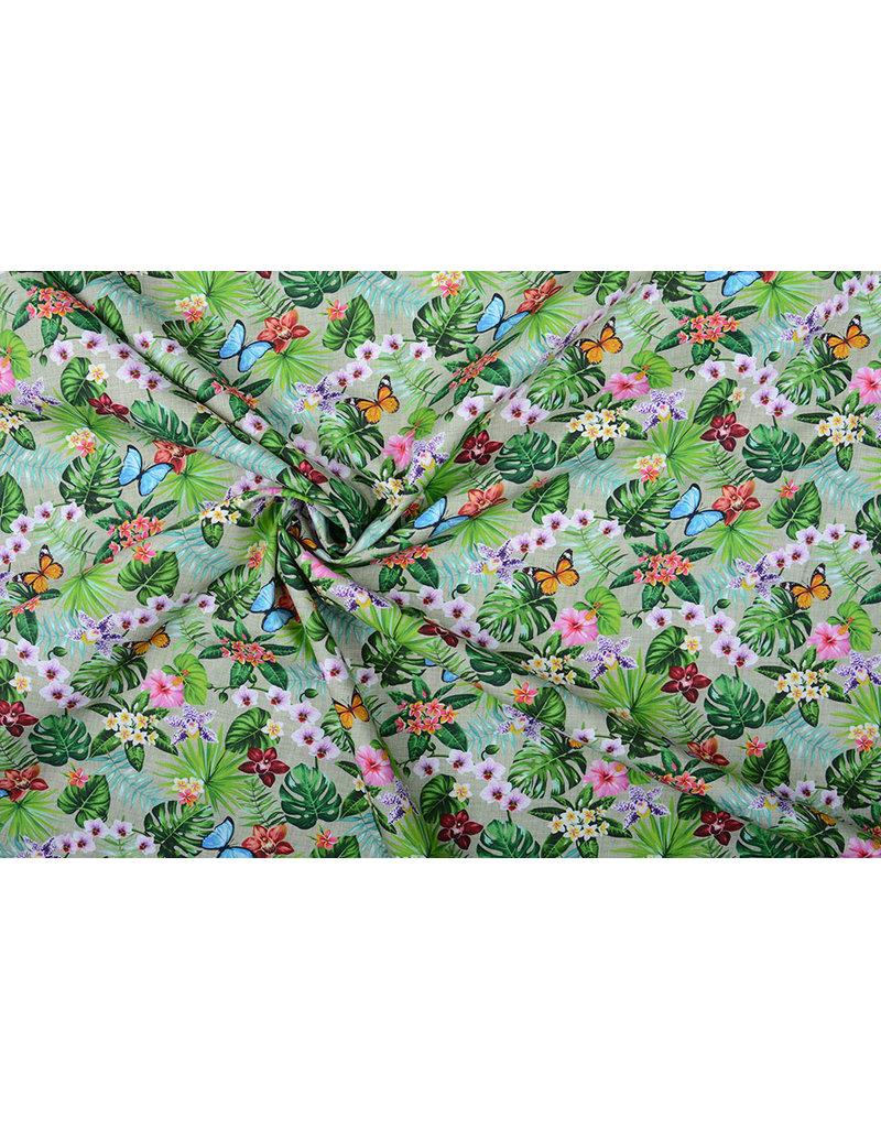 Stenzo 100% Katoen Flora en Fauna Groen