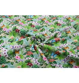 100% Cotton Flora and Fauna Green