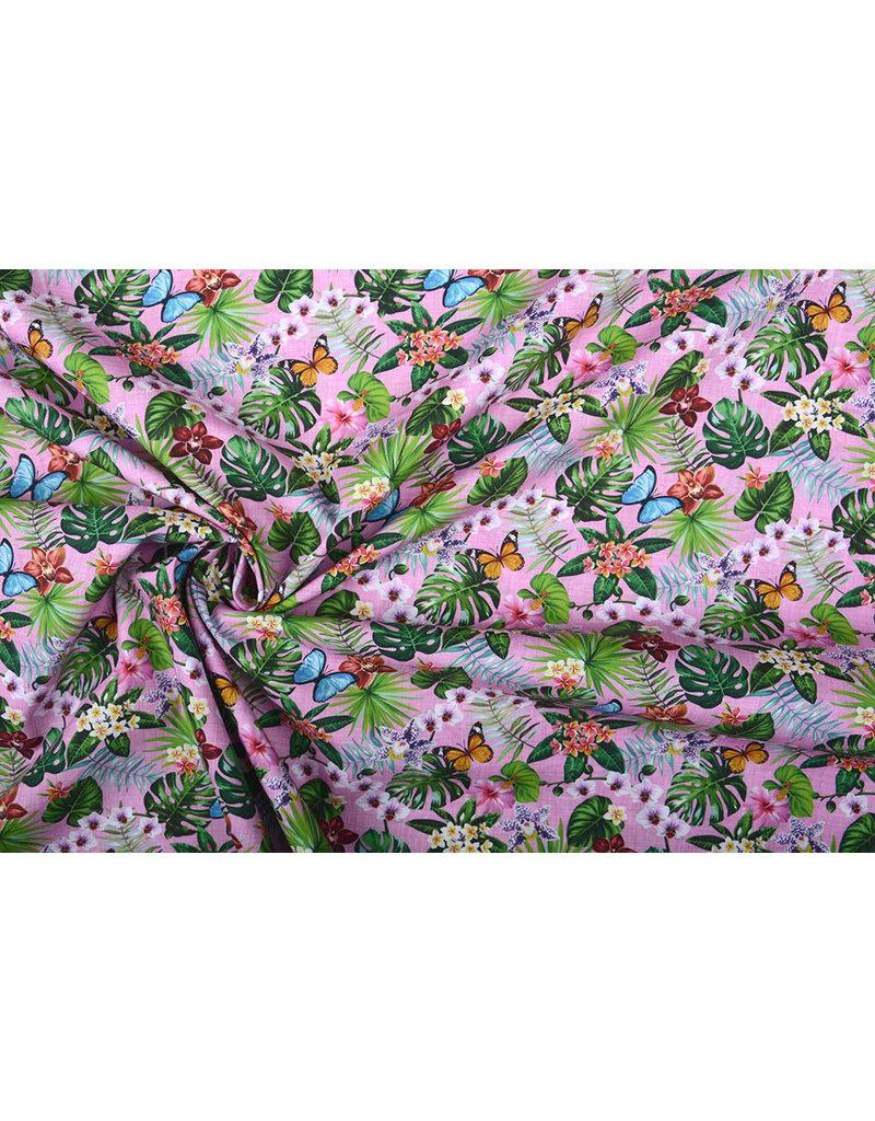 Stenzo 100% Katoen Flora en Fauna Roze