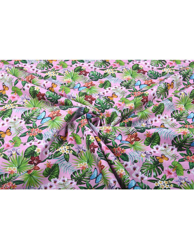 Stenzo 100% Baumwolle Tier- und Pflanzenwelt Rosa