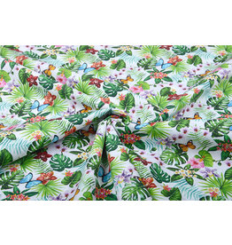 100% Cotton Flora and Fauna White