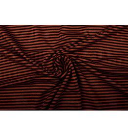 Viscose Jersey Stripes Dark Brique Black