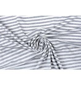 Viskose Jersey Streifen Hellgrau Weiß