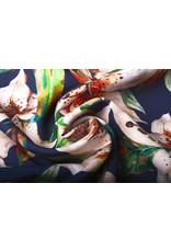 Digitaal Crepe Stretch Orchidee Perzik Marine