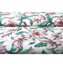 Digitaal Crepe Stretch Orchidee Fuchsia Wit