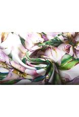 Digital Crepe Stretch Orchidee Flieder Rosa Weiß