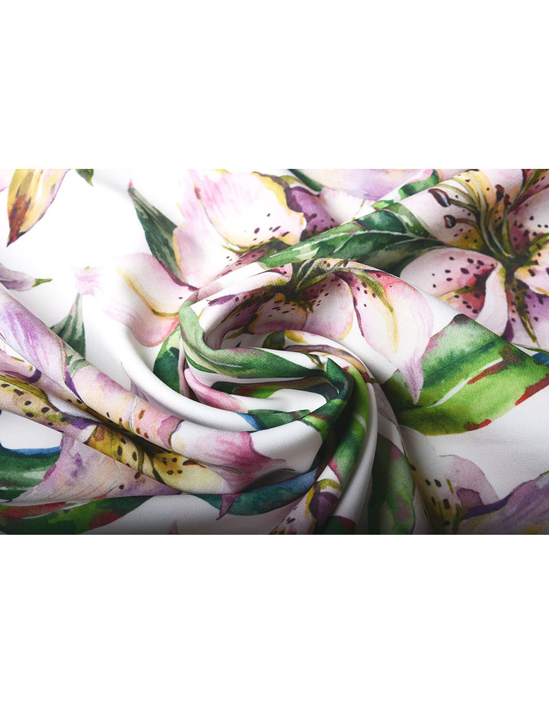 Digitaal Crepe Stretch Orchidee Lilaroze Wit