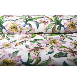 Digitaal Crepe Stretch Orchidee Lila Roze Wit
