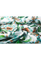 Digitaal Crepe Stretch Orchidee Mint Wit
