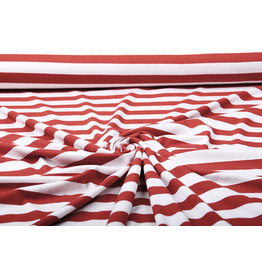 Viscose Jersey Wide Stripes Red Creme