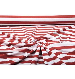 Viskose Jersey Breite Streifen Rot Creme
