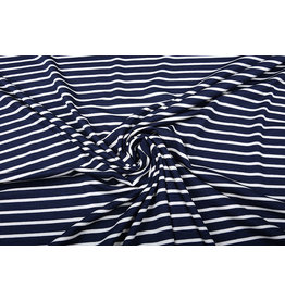 Viscose Jersey Brede Smalle Strepen Marine Wit
