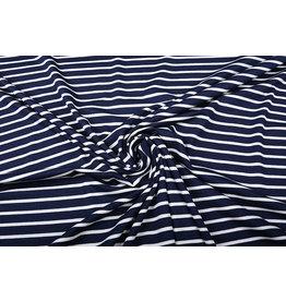 Viskose Jersey Breite Schmale Streifen Marine Weiß