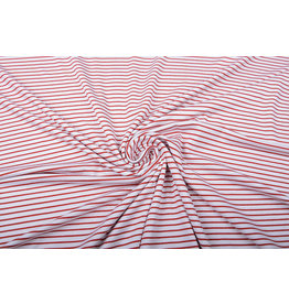 Viscose Jersey Narrow Stripes Red White