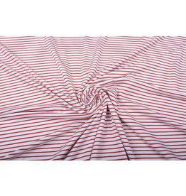 Viskose Jersey Schmale Streifen Rot Weiß