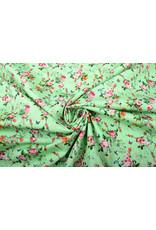Stenzo 100% Baumwolle Blumen Schmetterlinge und Vögel Grün