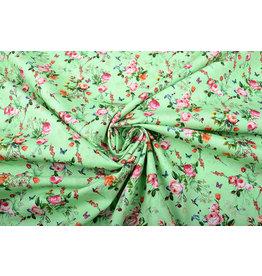 Stenzo 100% Cotton Flowers Butterflies and Birds Green