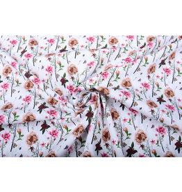 Stenzo 100% Baumwolle Blumen Schmetterlinge und Bienen Weiß