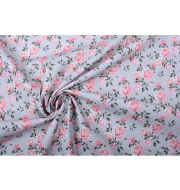 Stenzo 100% Cotton Pink Roses Gray
