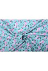 Stenzo 100% Katoen Roze Roosjes Turquoise