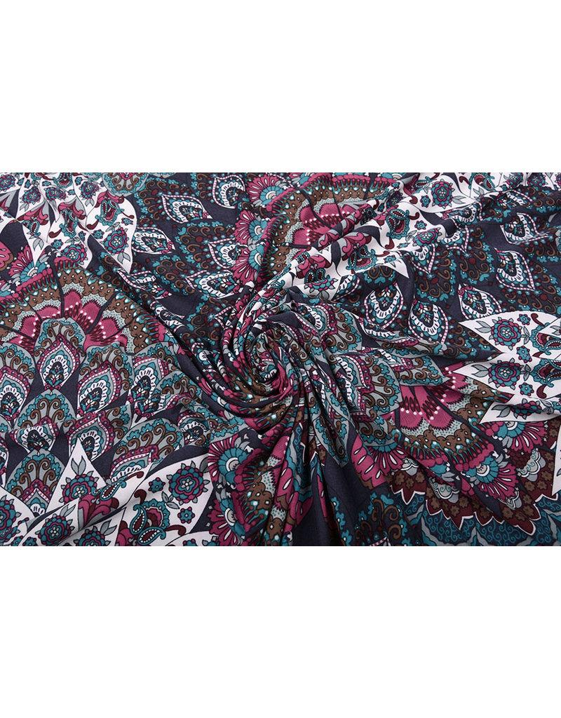Lycra Bloemen Mandala Paars Multi