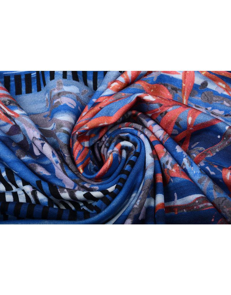 Lycra Barnett Blau Rot
