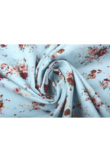 100% Cotton Florets Roses Light Blue