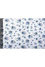 100% Baumwolle Florets Blaue Rosen Weiß
