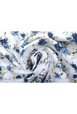 100% Katoen Florets Blauwe Rozen Wit