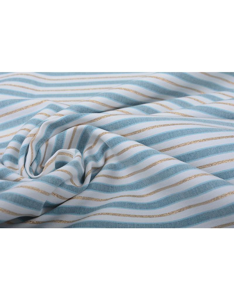 Baumwolle Streifen Blau Gold
