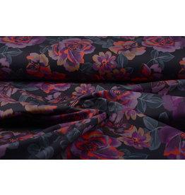 Stretch Cotton Moana Purple Black
