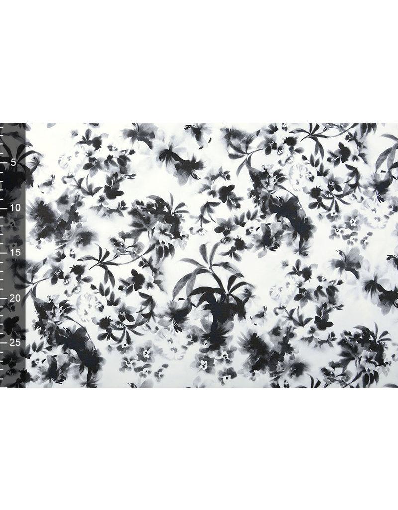 Baumwoll-Stretch Silvestres Weiß Schwarz