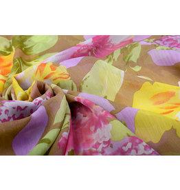Yoryu Chiffon Printed Flowers Yellow Pink