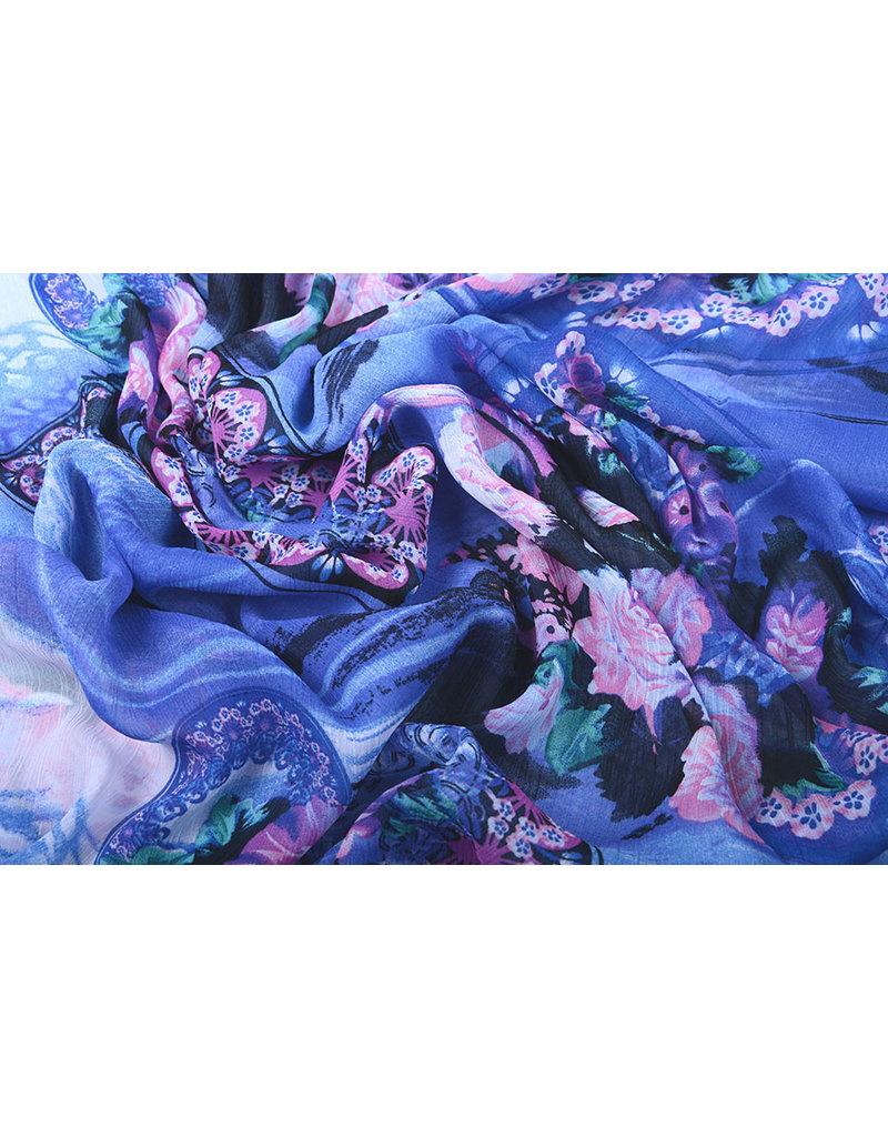 Yoryu Chiffon Printed Water and Flowers Blue