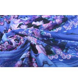Yoryu Chiffon Bedrukt Water en Bloemen Blauw
