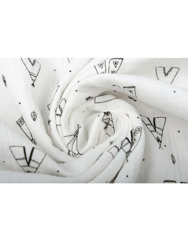 Oeko-Tex®  Baumwoll Musselin Tipi-Zelt Weiß