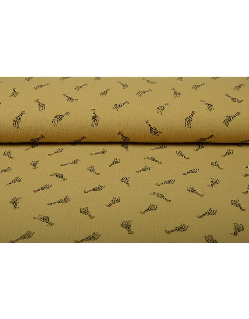 Oeko-Tex®  Baumwoll Musselin Giraffe Ocker Gelb