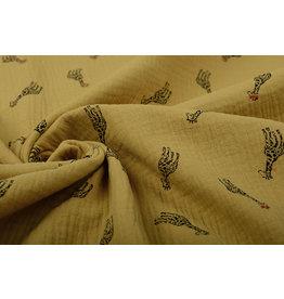 Oeko-Tex®  Double Gauze Fabric Giraffe Ocher Yellow
