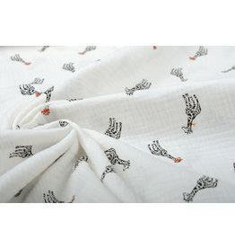 Oeko-Tex®  Baumwoll Musselin Giraffe Weiß