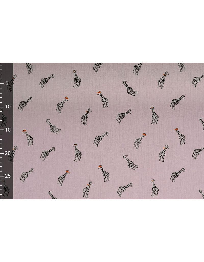 Oeko-Tex®  Baumwoll Musselin Giraffe Hell Altrosa