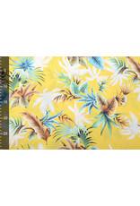 100% Viscose Tropische Palmbladeren Geel