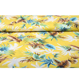 100% Viscose Tropical Palmleaves Yellow